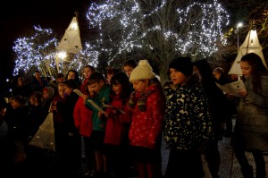 Carol singers from Belgrave Primary school entertained the residents of Westminster Park at the Christmas lights switch on.