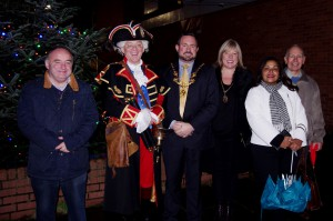 From left to right: Cllr Neil Sullivan,  Town Crier David Mitchell, The Lord Mayor of Chester Cllr Hugo Deynem, the Lady Mayoress Mrs Deb Deynem, Cllr Razia Daniels and Brian Westcott, Chairman of Westminster Park Residents' Association.
